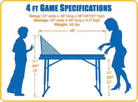 Four Foot Table Game Dimensions